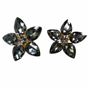 3 / $25 Black Floral Crystal Clip on Earrings